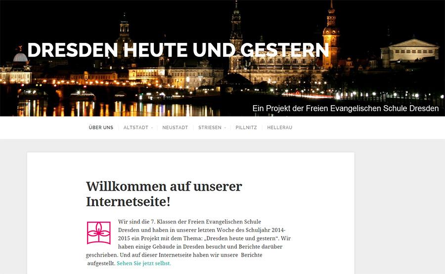 """Screenshot der website """"Dresden heute und gestern"""""""