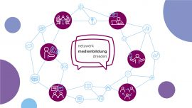 Logo des Netzwerks Medienbildung Dresden und verschiedene Icons, die Netzewrkarbeit im Bereich digitaler Medien darstellen.