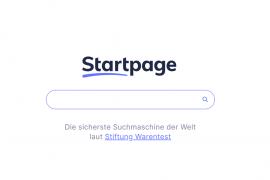 Screenshot der Startseite der Suchmaschine Startpage